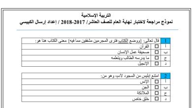 Photo of نموذج امتحان تربية إسلامية صف عاشر فصل ثالث