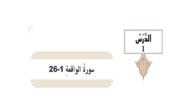 Photo of سورة الواقعة1-26 تربية إسلامية صف تاسع فصل أول
