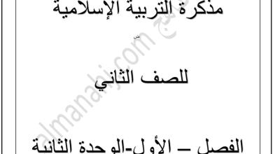 Photo of أوراق عمل الوحدة الثانية تربية إسلامية صف ثاني فصل أول