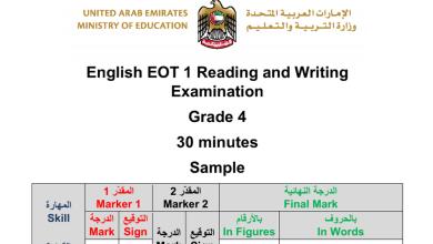 Photo of نموذج امتحان قراءة وكتابة لغة إنجليزية صف رابع فصل أول