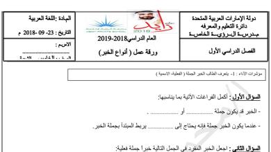 Photo of ورق عمل أنواع الخبر في الجملة الاسمية لغة عربية صف خامس فصل أول