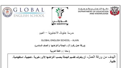 Photo of أوراق عمل درس الجملة وأغراضها  لغة عربية صف سادس فصل أول