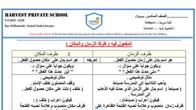 Photo of ورقة عمل ظرف الزمان والمكان لغة عربية صف سادس فصل أول
