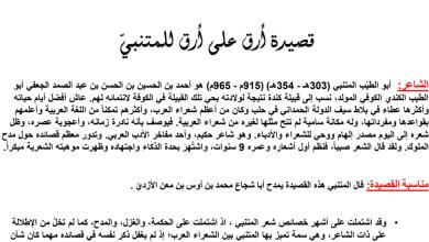 Photo of حل درس قصيدة أرق على أرق لغة عربية صف ثاني عشر فصل أول