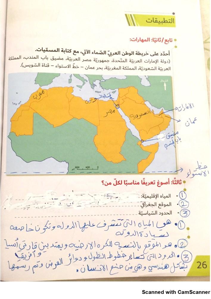 درس موقع الوطن العربي