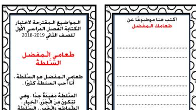 Photo of مواضيع كتابة مقترحة لغة عربية صف ثاني فصل أول