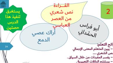 Photo of حل درس أراك عصي الدمع لغة عربية صف حادي عشر فصل ثاني