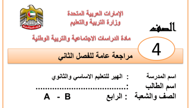 Photo of أوراق عمل شاملة دراسات اجتماعية صف رابع فصل ثاني