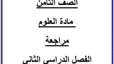 Photo of مراجعة شاملة علوم صف ثامن فصل ثاني