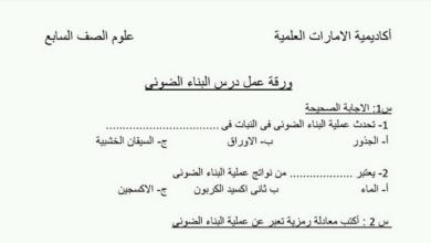 Photo of ورق عمل درس البناء الضوئي علوم صف سابع فصل ثاني