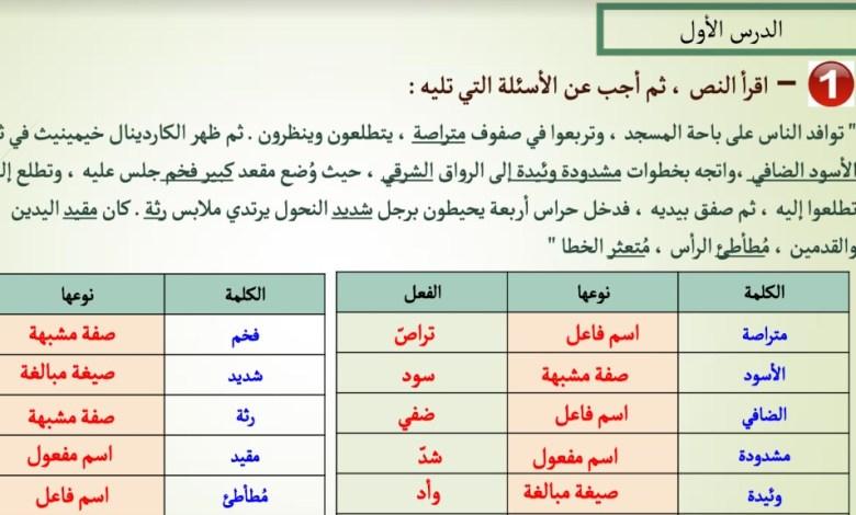 حل تدريبات متنوعة النحو لغة عربي حادي عشر