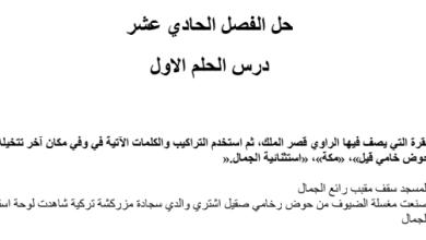 Photo of حل الفصل الحادي عشر درس الحلم الاول رواية احلام ليبل السعيدة