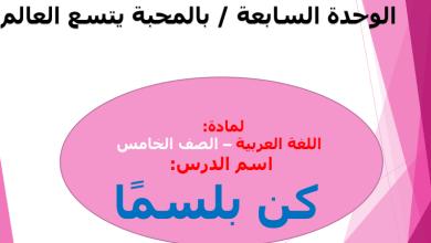 حل درس كن بلسما للصف الخامس لغة عربية الوحدة السابعة / بالمحبة يتسع العالم