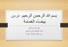 Photo of مفردات درس بيضاء الغمامة لغة عربية صف أول فصل ثالث