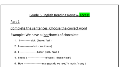 Photo of نموذج اختبار قراءة (أكسس) لغة إنجليزية صف خامس فصل ثالث