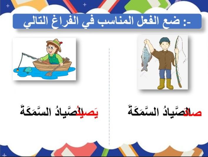 حل درس الجملة الفعلية (بنية الكلمة) لغة عربية صف أول فصل أول