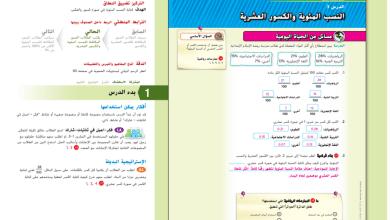 Photo of حل درس النسب المئوية والكسور العشرية رياضيات صف سادس فصل أول
