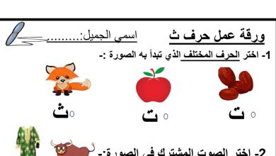 Photo of ورقة عمل حرف الثاء لغة عربية صف أول
