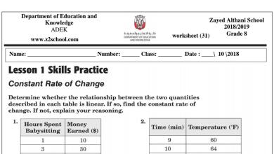 Photo of مراجعة رياضيات منهج إنجليزي صف ثامن فصل أول