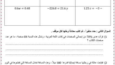 Photo of أوراق عمل الوحدة الثانية رياضيات صف ثامن فصل أول