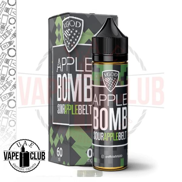 VGOD Apple Bomb E-juice 60ml Best Buy Uae Vape Club In Dubai Primary Flavors:Sour Green AppleCandy Nicotine Strengths: 3mg VG/PG:70%VG / 30%PG