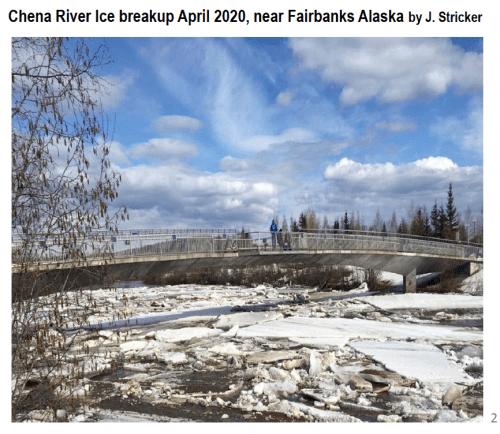 Chena River Ice breakup April 2020, near Fairbanks Alaska - by J. Stricker