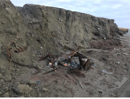 Newly formed beach erosion bluff east of Nome, Alaska. Credit. G. Sheffield, 7 November 2020