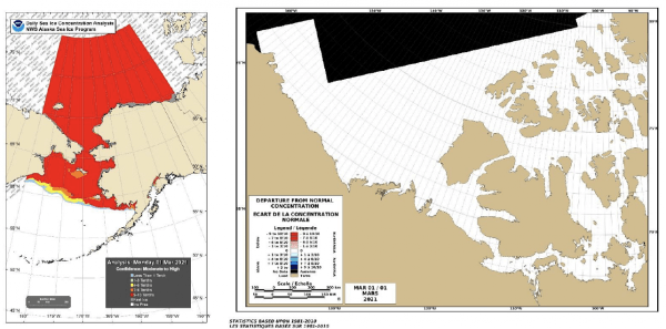 Sea Ice Concentration Conditions & Departure from Normal Conditions 1 March 2021 in the Chukchi and Beaufort Seas