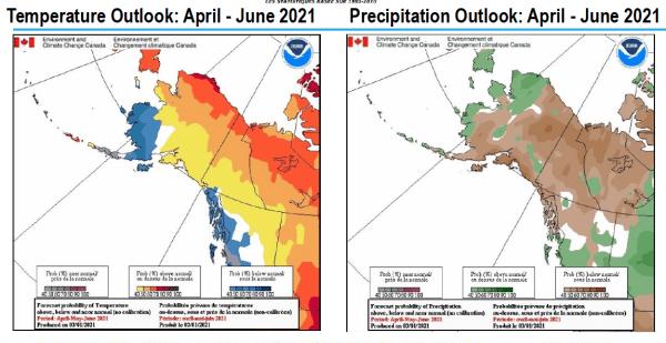 Temperature and precipitation outlooks for April - June 2021