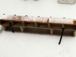 An ice core, ~one meter (39 in), ready to be sawed into pieces and packed away. (photo by Georgi Laukert)