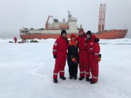 The Sea Ice Physics Team: Simon Hummel (far left) and Jakob Belter (third from the left). I am the short one, and PhD Student Mia Hansen is on the far right. (photo by Vladimir Bogdanov)