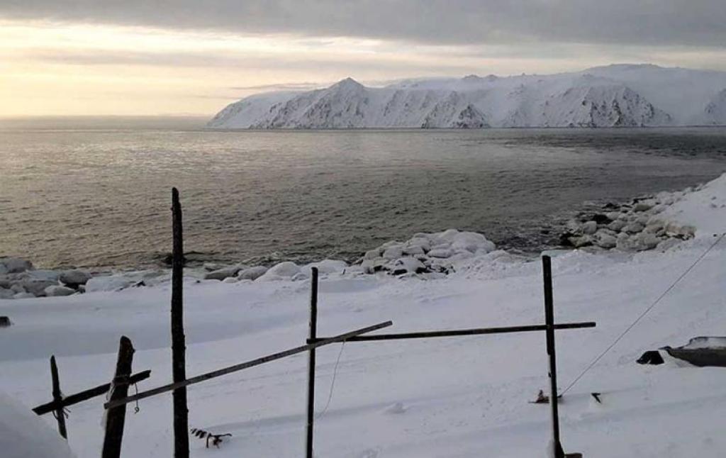 open water off little diomede, alaska