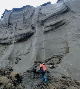 Iwahana examines an outcrop of ice-rich permafrost of the North Slope, Alaska. (Photo by M. Uchida)