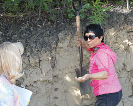 Examining the soil profile as part of field soil characterization (photo: Y. Bult-Ito)