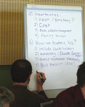 A brainstorming session to explore better communication between scientists and communities. (Photo: B. Gamble)