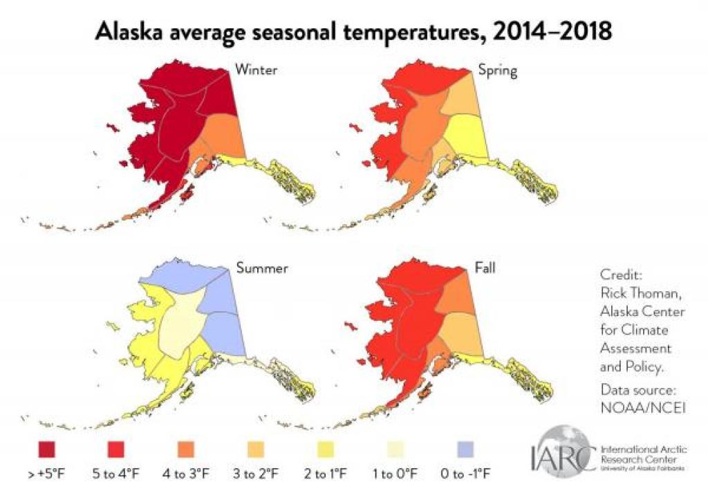 alaska average seasonal temperatures maps