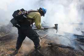 firefighter chopping