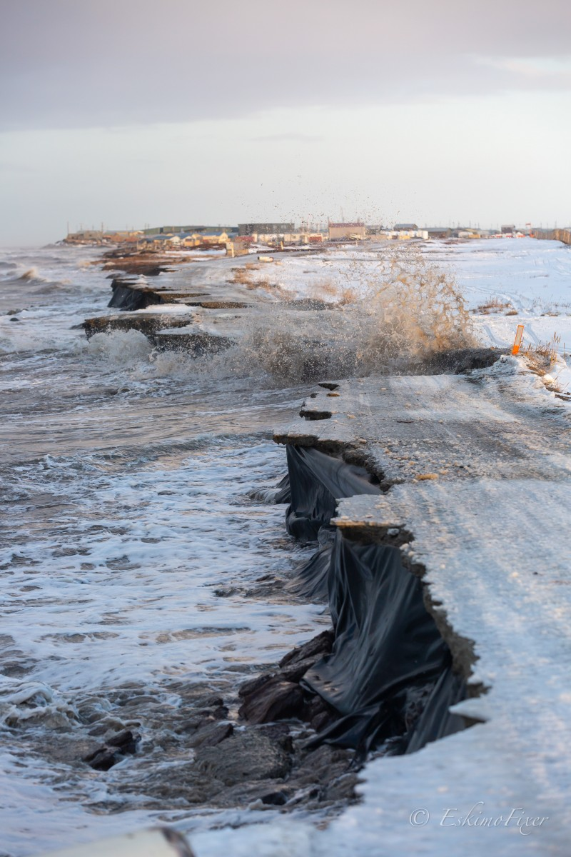 Dennis Davis from Shishmaref captured this photo of a storm eroding the road to the community dump on November 6, 2020. See more pictures of climate change impacts in Shishmaref on Dennis's Instagram account @eskimofixer.