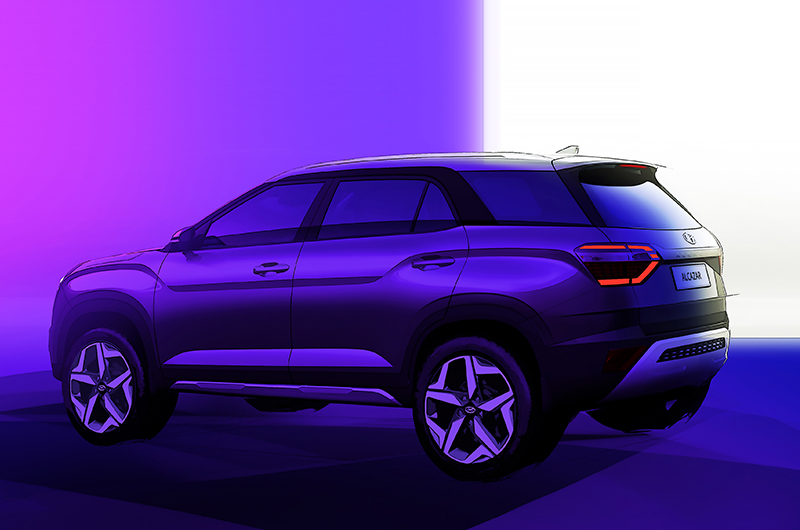 Hyundai Motors India officially released the interior and exterior design sketches of all New Hyundai ALCAZAR. Post-launch it will be the first seven-seater SUV offered by Hyundai in India. The Name ALCAZAR is a French word that Means Sands and Castels.