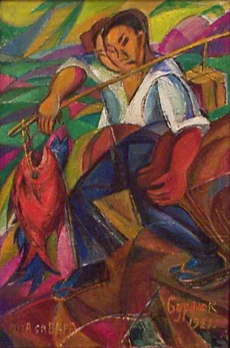 Давид Бурлюк - Японець-рибалка, 1921
