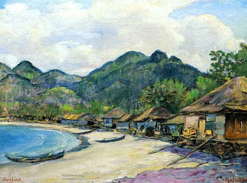 Давид Бурлюк - Японське селище, 1921