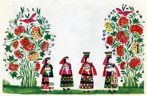 """Надія Білокінь - Народна картинка """"Весільна процесія"""", 60Х84, 1961 рік"""