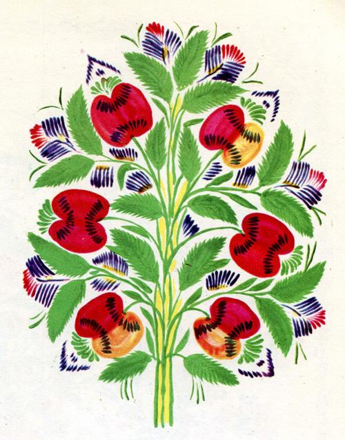 """Надія Білокінь - Декоративний розпис """"Яблука"""", 40Х30, 1963 рік"""