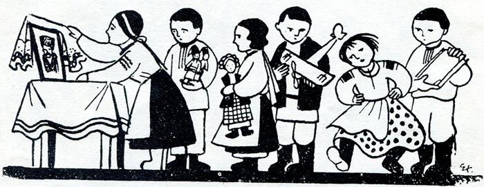 """Едвард Козак. Перед Шевченком. Заставка до журналу """"Дзвіночок"""", №53 за 1936 рік."""
