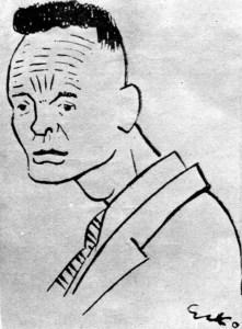 Едвард Козак. Шарж на Павла ковжуна. 1924 рік.