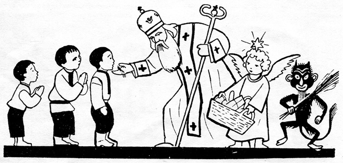 """Едвард Козак. Святий Миколай. Заставка до журналу """"Дзвіночок"""", №79 за 1937 рік."""