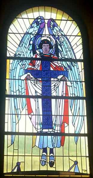 """Петро Холодний. Ангел з Хрестом з триптиха """"Благовіщення"""". Церква Святого Миколая в с. Мражниця."""