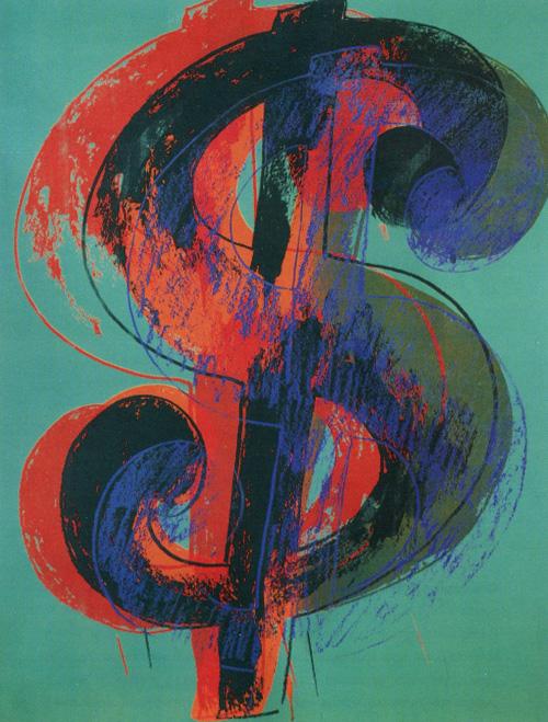 Енді Воргол. Знак долара. 1981. Шовкографія тушшю, синтетична полімерна фарба, полотно.