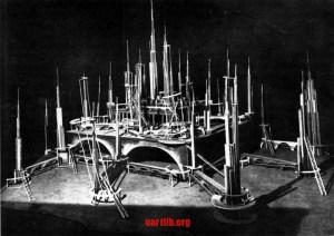 """Ісак Рабинович. Проект міста на Марсі до фільму """"Аеліта"""". 1924 рік."""