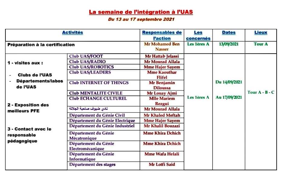 Programme de la semaine d'intégration à l'Université Arabe des Sciences